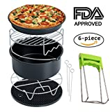 : Air Fryer Accessories Deep Fryer Universal, Cake Barrel, Pizza Pan, Silicone Mat, Skewer Rack, Metal holder Fit all 3.7Qt - 5.3Qt - 5.8Qt By RJUN