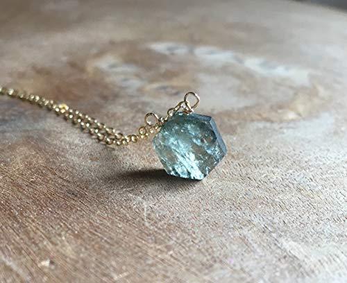 Green Moss Aquamarine Gemstone Necklace March Birthstone Jewelry Gift ()