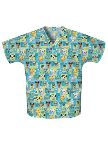 Scrubs - Cherokee Pet Shop Boys Print Two Pocket Scrub Top (Cherokee Two Pocket Tunic)