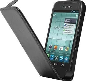 Universel - Funda con tapa para Alcatel OT-997, color negro