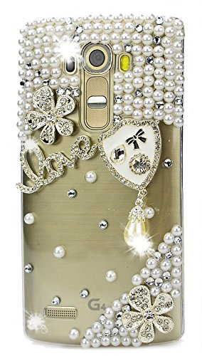 STENES LG X Charge Case - Stylish - 100+ Bling Crystal - 3D Handmade Shield Pearl Pendant Flowers Love Design Protective Case for LG X Power 2 /LG Fiesta LTE/LG ()