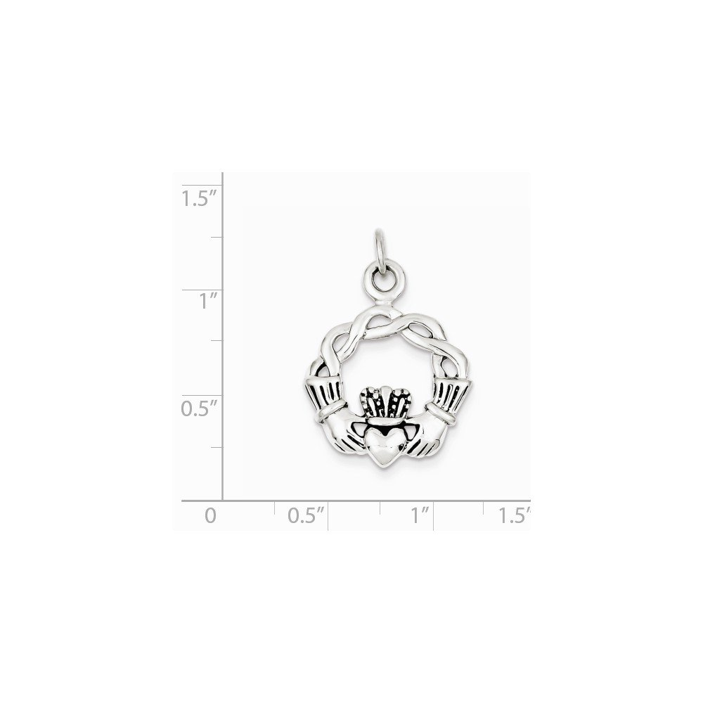 Diamond2Deal 925 Sterling Silver Antiqued Claddagh Pendant