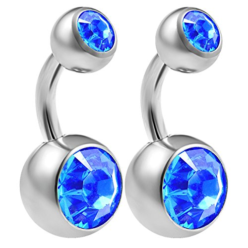- bodyjewellery 2pcs 14g Implant Grade Surgical Steel Double Crystal Short Navel Belly Button Ring 6mm1/4 14 Gauge Pick Color(s)