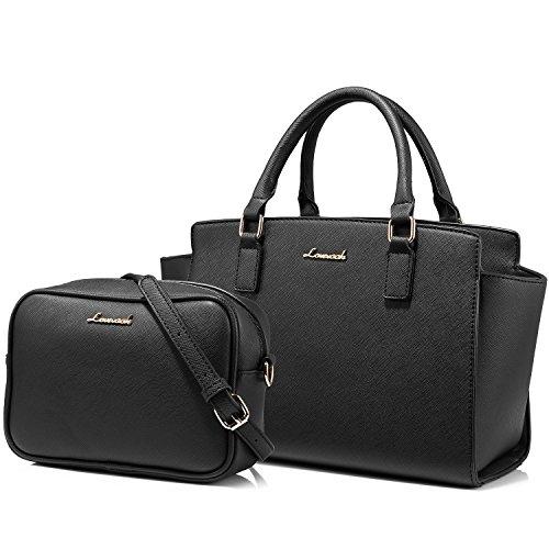 Tote Bag Structured Designer Handbags Purses Satchel Bags 2PCS Set for Women Black