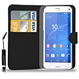 Sony Xperia Z3 Leather Wallet Flip Case Cover Pouch & Mini Touch Stylus Pen + Free Screen Guard & Cleaning Cloth - BLACK