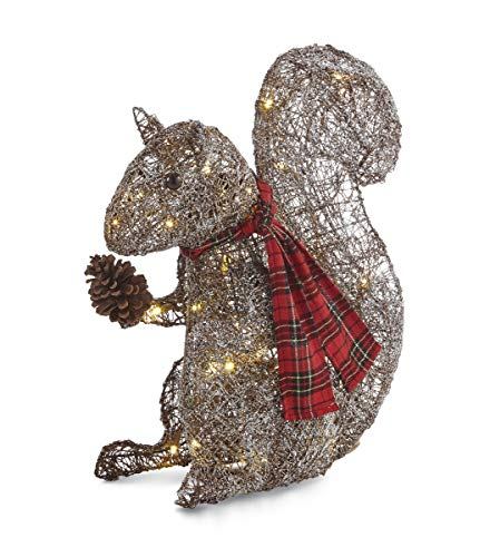 NOMA Pre-Lit LED Light Up Frosted Squirrel, 20 Inches | Christmas Holiday Lawn Decoration | Indoor/Outdoor | 20