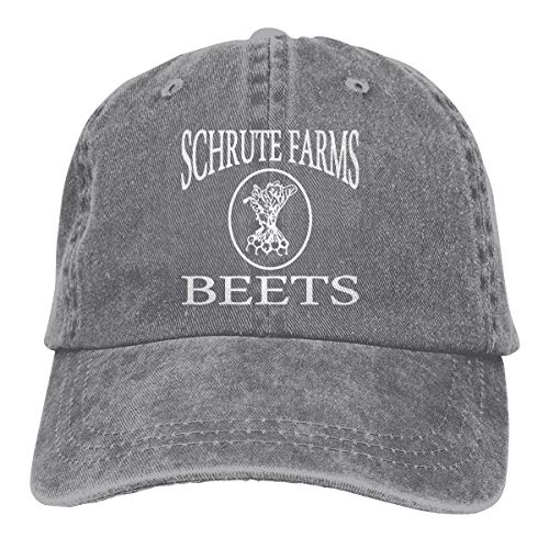 - Waldeal Schrute Farms Beets Unisex Washed Twill Cotton Adjustable Plain Cap Vintage Baseball hat Gray