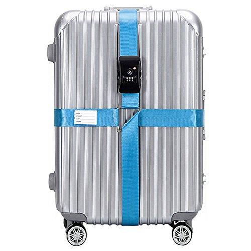 BlueCosto LightBlue TSA Adjustable Luggage Strap Suitcase Straps Travel Bag Belt