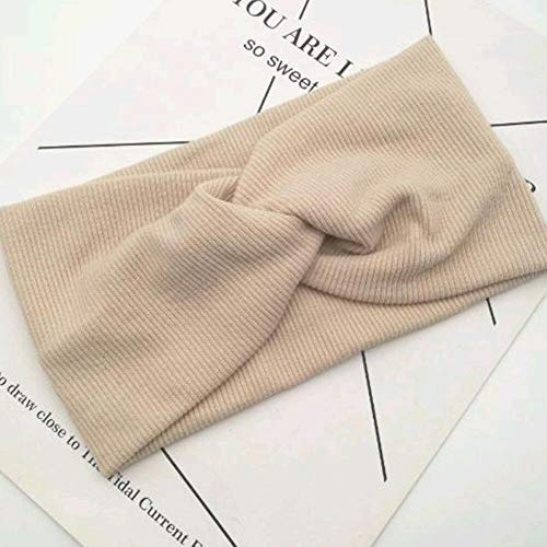 Fashion Women Girl Yoga Elastic Turban Floral Twisted Knotted Hair Band Headband (Color - Beige) ()