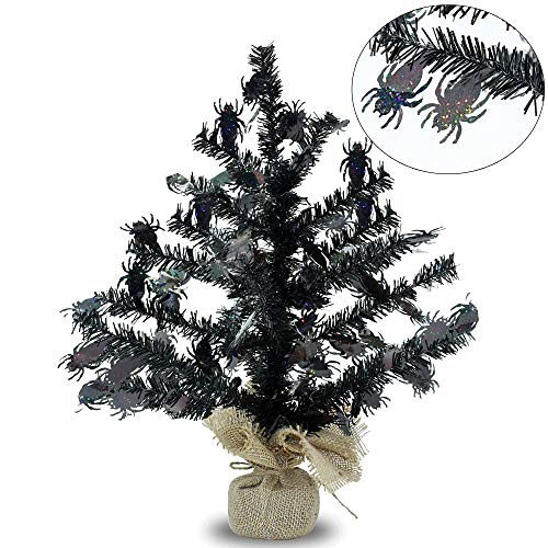YuQi 17''Artificial Mini Tinsel Christmas Trees with Burlap Wrapped Base,Black Tabletop Fake Xmas Halloween Tree with Reflective Sequins and Shiny Spider for Halloween or Home Holiday Decor (Spider)]()