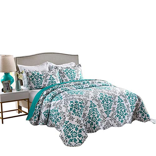 MarCielo 3 Piece Quilted Bedspread, Printed Quilt, Quilt Set Bedding Throw Blanket Coverlet Oversize Lightweight Bedspread Ensemble, Turquoise Teal, King Size, Katrina Blue