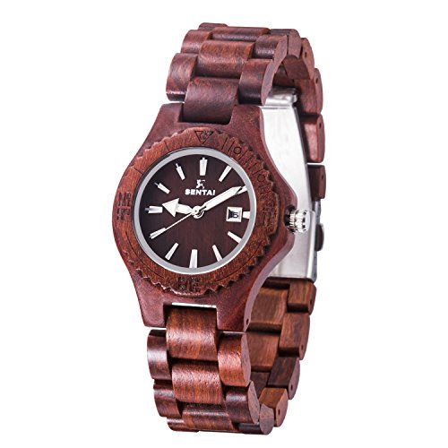 Sentai Wood Watch, Womens Handmade Wrist Watch with Adjustable Band, Date Calendar, Luminous Pointer from SENTAI
