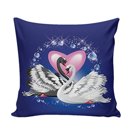 TOOPOOT Couple Swan Print Flax Festival Pillowcase Sofa Cusion Cover (Cupid Couples Costumes)
