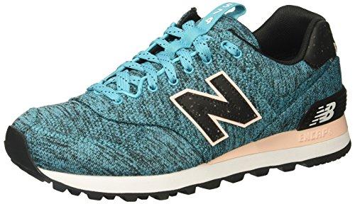 New Balance Women's 574v1 Sneaker, Vivid Ozone Blue/Sunrise Glo