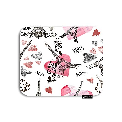 Moslion Paris Mouse Pad Vintage France Sheffield Tower with Word Pink Love Heart Flower Leaf Gaming Mouse Pad Rubber Large Mousepad for Computer Desk Laptop Office Work 7.9x9.5 Inch