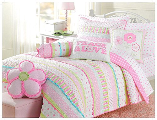 Greta Pastel Cotton 2-Piece Quilt Set (Twin Size)