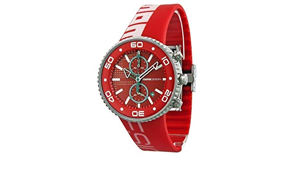 Amazon.com: Momo Design Jet Red Chronograph Dial Red Rubber Mens Watch MD1187-RB-03RDRD: MOMO: Watches