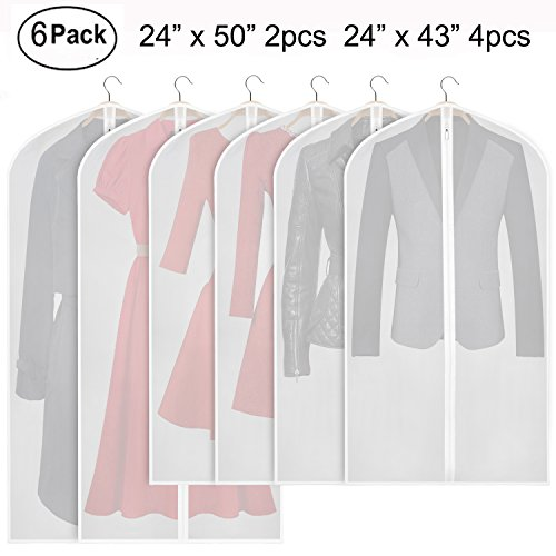 Garment Bags Storage - Zilink Hanging Garment Bag Lightweight Suit Bags Moth-proof (Set of 6) with Study Full Zipper for Closet Storage and Travel [Upgraded Version]