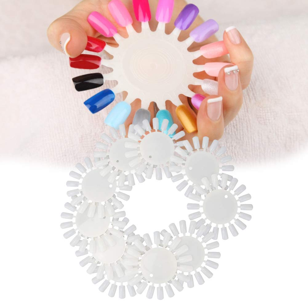 10pcs Round Type Manicure Clear Fake Nail Display Sticks for Polish Gel Color Display Practice Tool (01) by Rotekt