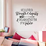 BATTOO She is Clothed in Strength and Dignity Christian Wall Quotes Decal 22'' W 16.5'' H Girls Wall Quote Vinyl Decal Kids Wall Decal Sticker, Black