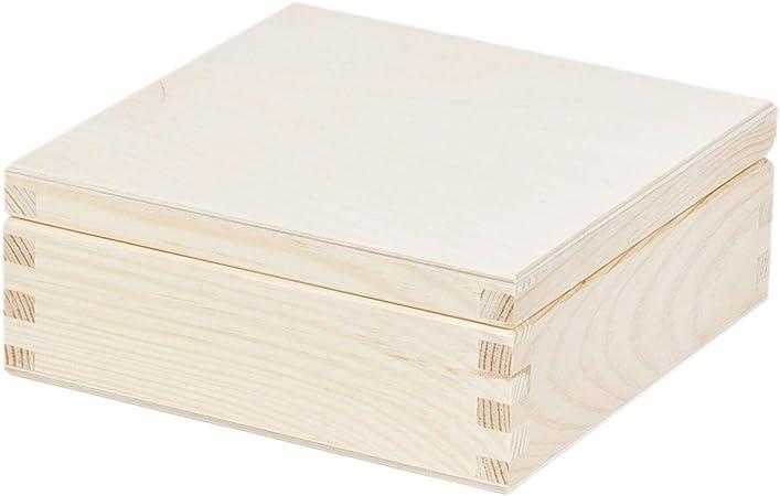 0,7 l 15 x 15 x 6 cm caja de madera caja de almacenamiento (Madera): Amazon.es: Hogar