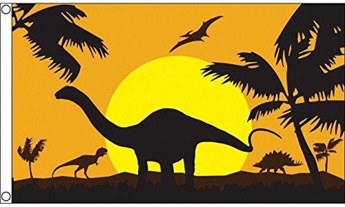 1000 Flags Limited Dinosaur Dawn Diorama Flag 5'x3' (150cm x 90cm) - Woven Polyester Flag 5'x3' (150cm x 90cm) - Woven ()