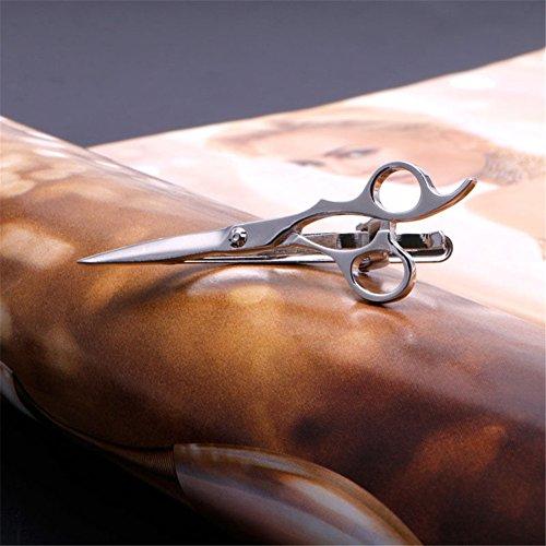 MEXUD-Men Vintage Copper Tie Clip Necktie Tie Clip Bar Clasp Anchor Guitar Glasses (Scissors-Silver)