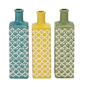 Benzara The Tall Ceramic Stripe Vase, 3 Assorted Colors
