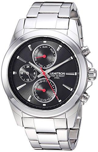Armitron Men's 20/5250BKSV Multi-Function Dial Silver-Tone Bracelet Watch