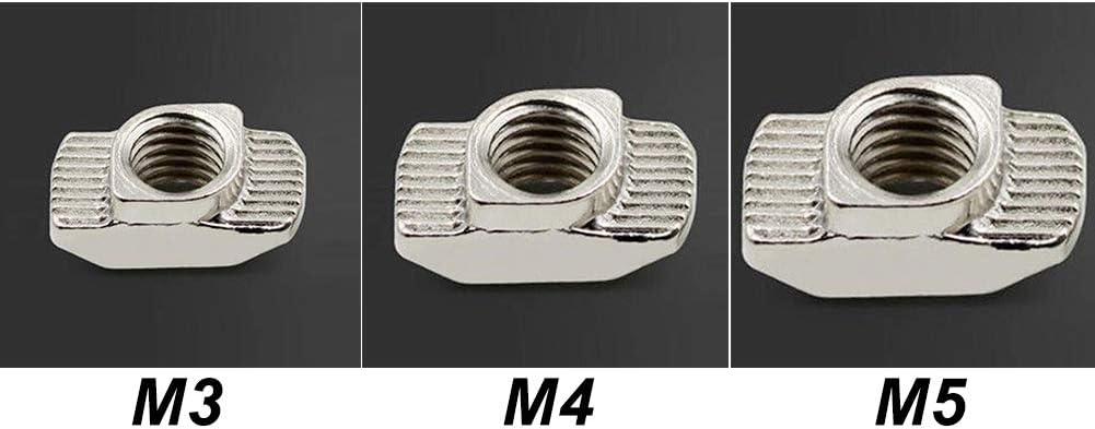 T-Nuts - Juego de 20 tuercas M3 M4 M5 de aluminio para extrusión ...