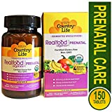 Country Life Prenatal Daily Nutrition - Realfood Organics - 150 Easy to Swallow Tablets - May Help Support Prenatal Daily Nutrition - Non GMO - Gluten-Free