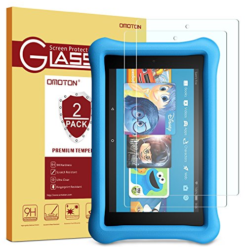 [2-Pack] All-New Fire 7 / Fire 7 Kids Edition Screen Protector - OMOTON Tempered Glass Screen Protector with [Crystal Clear][Scratch Resistant][2017 Released] (Screen Kindle Protector)