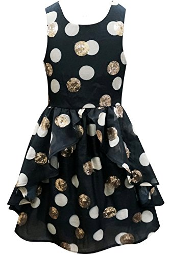 Hannah Banana, Big Girls Tween Embellished Party Dress, 7-16 (16, Black/Gold) -