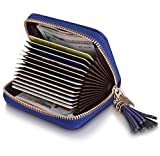 Genuine Leather Credit Card Wallet, Women's Card Holder for Travel and Work, RFID Blocking Wallet for ID Cards, Driver License, Credit Cards and Money Pendant Royal Blue