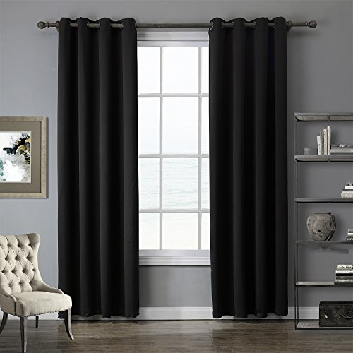 Insulated Blackout Curtains Drapes Farmhouse Dining Room - Short 52 x 63 Inch Black 1 Panel
