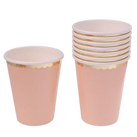 8pcs Vasos Desechable de Papel Accesorio de Mesa de Cena de Boda de Fiesta de Cumpleaños Vajilla Desechable - Rosa