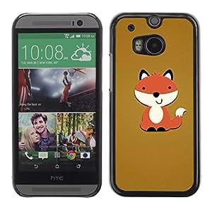 Cubierta de la caja de protección la piel dura para el HTC ONE M8 2014 - brown orange cartoon funny sweet