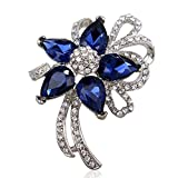 Jewelei Fashion Crystal 925 Sterling Silver Brooches Pins Scarf Clips for Wedding/Dailywear/Banquet