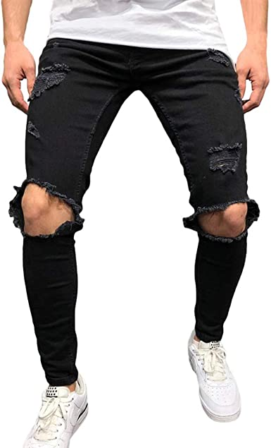Skinny Vaqueros Hombre Fashion Slim Pantalones Rotos Con Bolsillos Casual Verano Primavera Pantalon Mezclilla Rasgado Pantalones Jeans Tallas Grandes Amazon Es Ropa