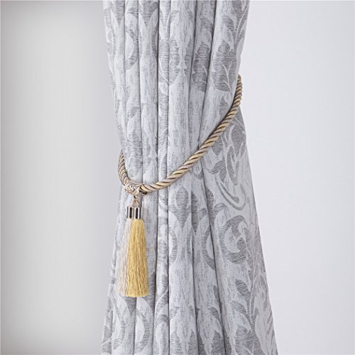Home Queen Decorative Tassel Rope Tie Backs for Extra Large Window Curtain, Hand Knitting Buckle Cord Drapery Holdbacks , Set of 2, Beige & Gold - Large Curtain Holdback