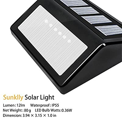 Outdoor Solar Lights - Sunklly 6 LED Steps Light for Walkway,Stairs,Yard