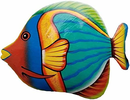 Hand-chiseled and Painted Tropical Metal Art Wall Decor Fish All Seas Imports