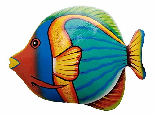 - Hand-chiseled and Painted Tropical Metal Art Wall Decor Fish