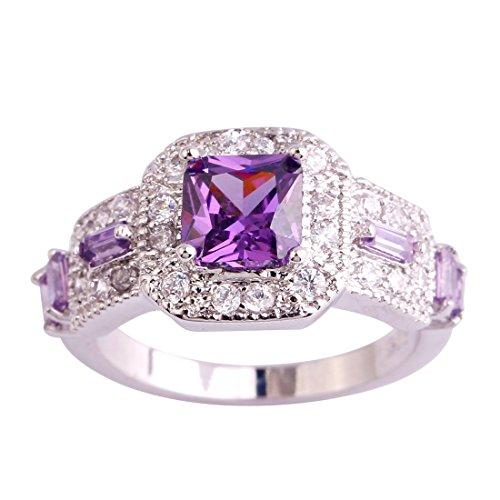 Psiroy 925 Sterling Silver Created Amethyst Filled Princess Cut Halo Wedding Ring ()