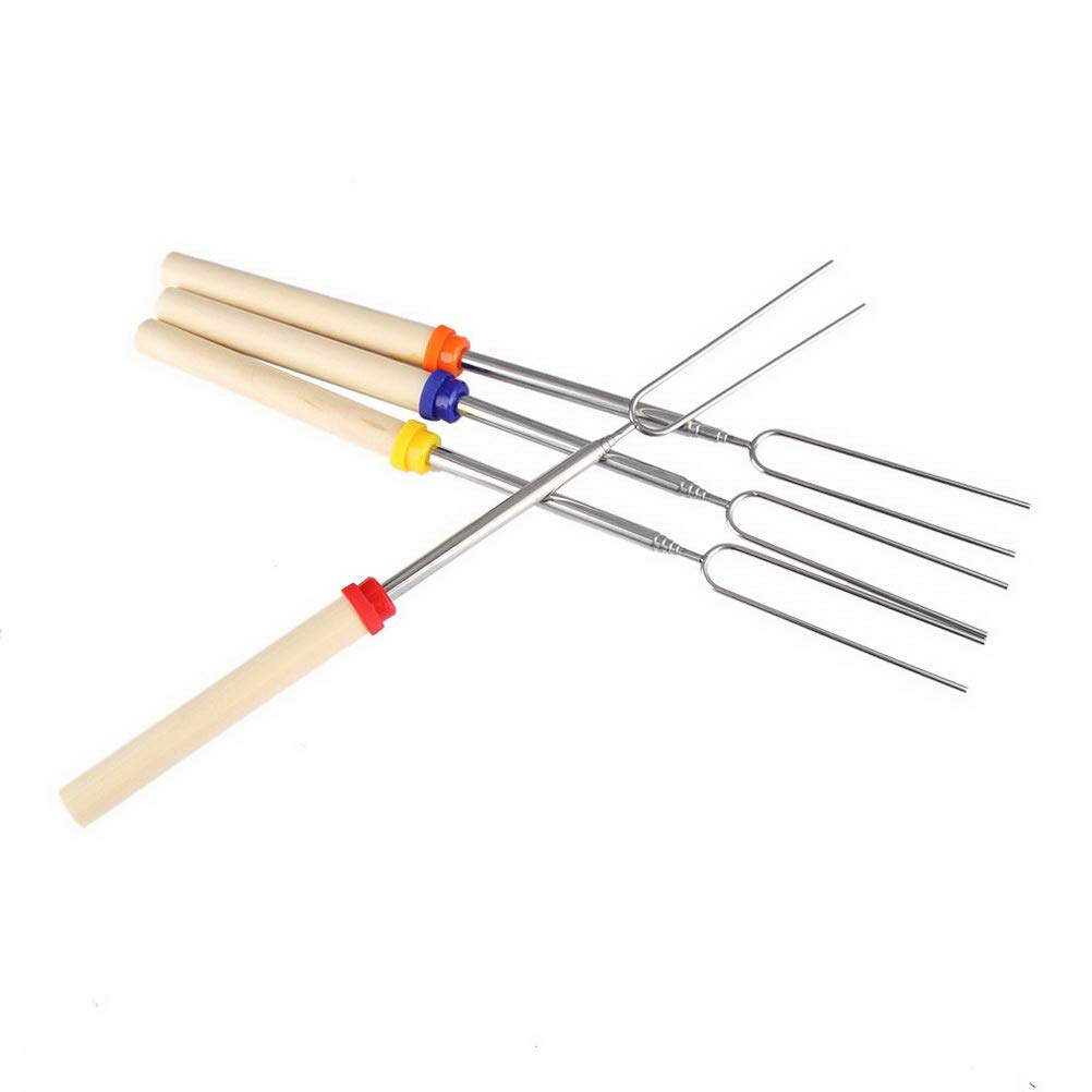 SUMAJU Marshmallow Roasting Sticks 4 PCS Barbecue Forks Sticks with Storage Bag 32Inch Extendable Sturdy Stainless Steel Roasting Forks