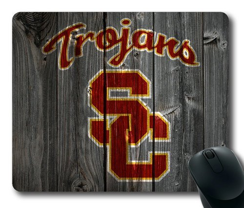 Customizablestyle NCAA Wood USC Trojans Logo Mousepad, Customized Rectangle DIY Mouse Pad B00H7WIF4M