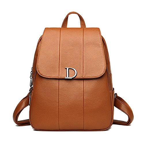 D Letter Woman Backpack Leather Brands Female Backpacks Schoolbag Backpack Elegant Feminina Brown by Kinggolder