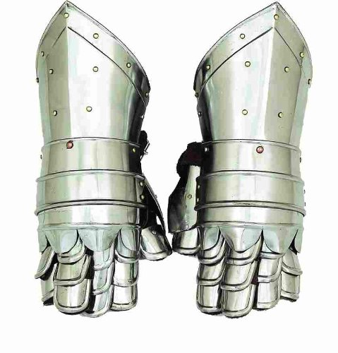 Metal Armour Hand Gloves Pair with Inviting Decor Appeal-(36302) -