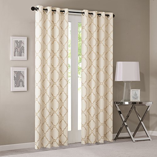Gold Curtains For Living Room, Traditional Back Tab Curtains For Bedroom, Aubrey Jacquard Rod Pocket Window Curtains, 50X108, 1-Panel Pack (Jacquard Rod Pocket Curtains)