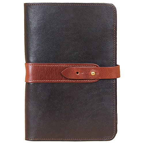 Travel Leather Portfolio Folio Notebook Business Folder Small Black Brown Full-Grain USA Made No. 20 by Col. Littleton